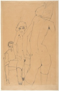 schiele, drawing a nude model before a mirror, 1910, pencil